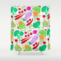 vegetables Shower Curtains featuring Vegetables! by Niche Drawings