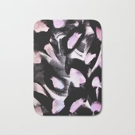 black, pink and white abstract painting Bath Mat