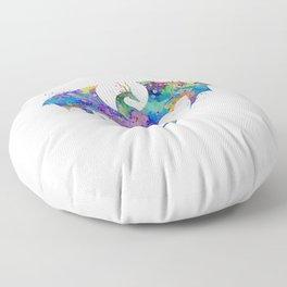 Dragon Colorful Watercolor Art Floor Pillow