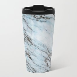 Aqua Black and White Marble Crackle Travel Mug