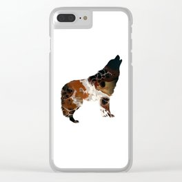 Brown Fluid Wolf Image Art Design Clear iPhone Case