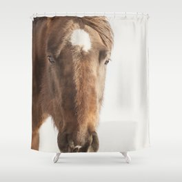 Vintage Style Horse Portrait in Color Shower Curtain