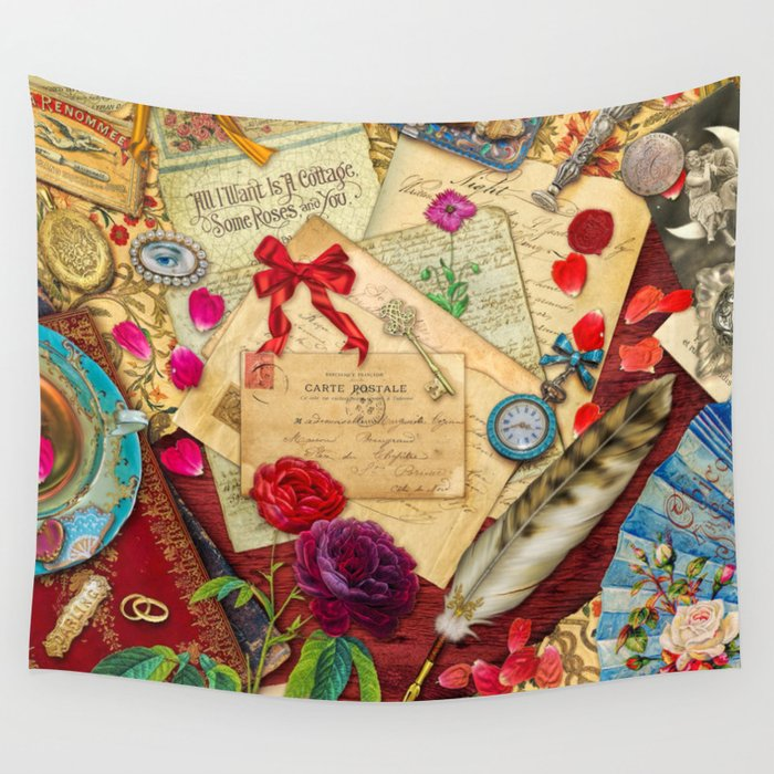 Vintage Love Letters Wall Tapestry by foxfires | Society6