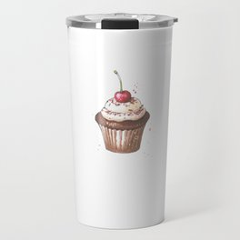 Delicious cupcake with cherry on top Travel Mug