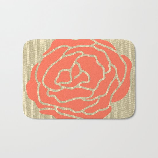 Rose Deep Coral on Linen Bath Mat