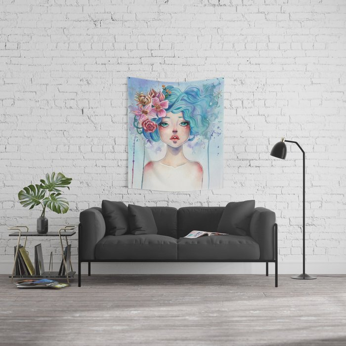 Blue Hair Wall Tapestry