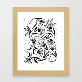 Black and White Echinacea Wildflower Drawing Framed Art Print