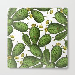 Vintage Green Yellow Floral Cactus Pattern Metal Print