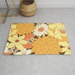 Yellow, Orange and Brown Vintage Floral Pattern Rug