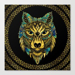 Tribal Wolf - Gold and Marble Decorated Canvas Print