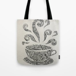 But first, Tea - tea coffee lover zentangle Tote Bag