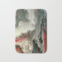 Digital Art Fluid Acrylic Painting Black, Silver, Red Waterfall Bath Mat
