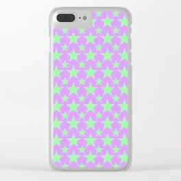 Green Star Pattern on Purple Clear iPhone Case