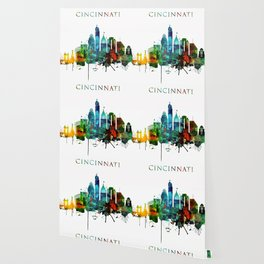 Colorful Cincinnati skyline Wallpaper