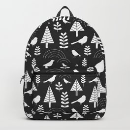 Winter Trees and Birds on Gray Backpack