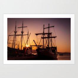 A sailer in the bay of Senj, Croatia Art Print