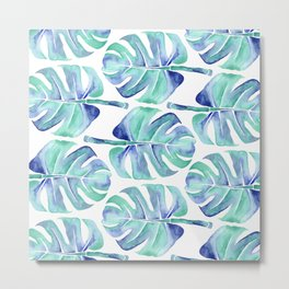 Blue Monstera leaf Metal Print