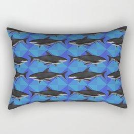 Sharks On Blue Tile Rectangular Pillow