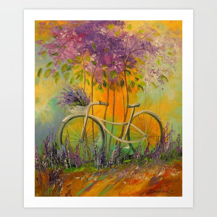 White Bicycle Art Print