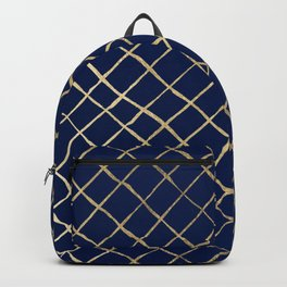 Elegant  abstract geometrical navy blue gold pattern Backpack