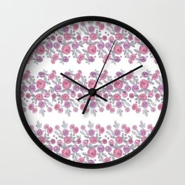 Bouquets of pink roses . Watercolor . Wall Clock
