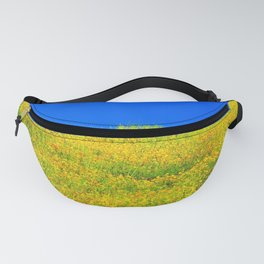 yellow poppy flower field with green leaf and clear blue sky Fanny Pack