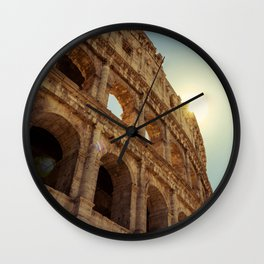 Italy Photography - The Colosseum Right Beneath The Sun Wall Clock