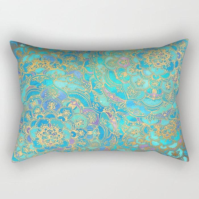 Sapphire & Jade Stained Glass Mandalas Rectangular Pillow