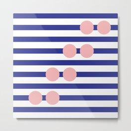 Stripe & Spot Large Navy Blue & Pink Metal Print