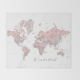 Wanderlust - Dusty pink and grey watercolor world map, detailed Throw Blanket