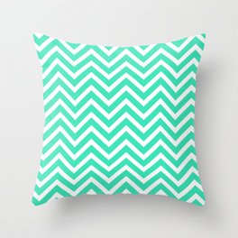 Chevron Pattern - Mint and White Throw Pillow