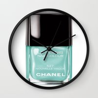 nail polish Wall Clocks featuring Aqua Nail Polish  by Luxe Glam Decor