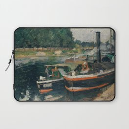 Camille Pissarro - Barges at Pontoise (1876) Laptop Sleeve