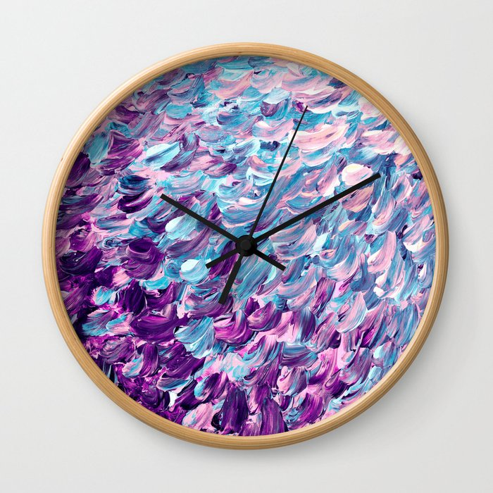FROSTED FEATHERS 1 Colorful Lavender Purple Lilac Serenity Rose Quartz Ombre Ocean Splash Abstract Wall Clock