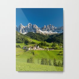 Santa Maddalena village in front of the Geisler or Odle Dolomites Group , Val di Funes, Italy Metal Print