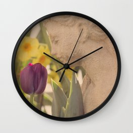 Girl Smells Tulip Wall Clock