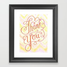 Thank you - hand lettered on chevron Framed Art Print