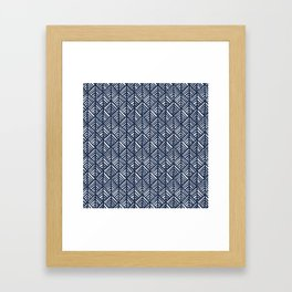 Abstract Leaf Pattern in Blue Framed Art Print