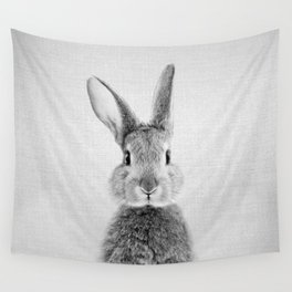 Rabbit - Black & White Wall Tapestry