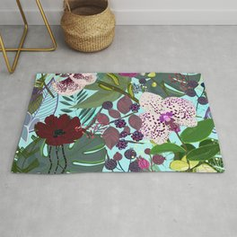 Orchid and cosmos flower botanical floral pattern Rug