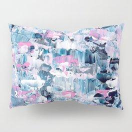 Modern pink blue hand painted acrylic brushstrokes Pillow Sham
