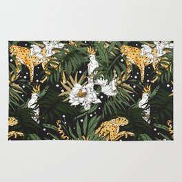 Animals in the glamorous nocturnal jungle Rug