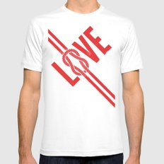 Love Knot (Red) Mens Fitted Tee MEDIUM White