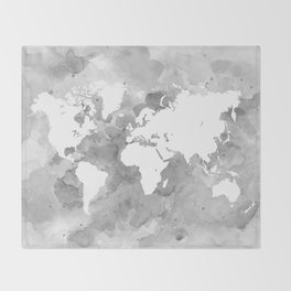 Design 49 Grayscale World Map Throw Blanket