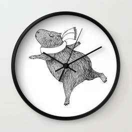 CAPYBARA ENJOYS WINTER Wall Clock