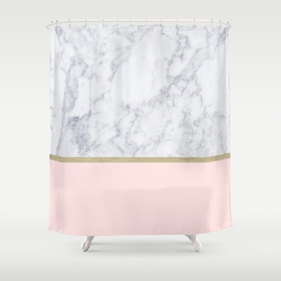 Marble Gold Blush Pink Pattern Shower Curtain By Xiari