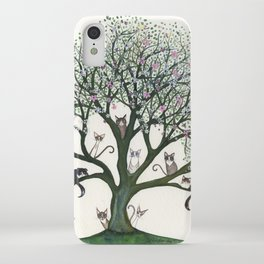 Pink Cheri Whimsical Cats in Tree iPhone Case