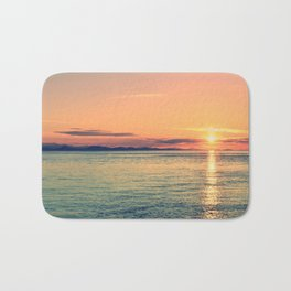 Pastel Sunset Calm Blue Water Bath Mat
