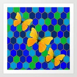 YELLOW BUTTERFLIES ON GREEN-BLUE ABSTRACT Art Print
