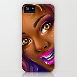 smiling colorful black island girl iPhone Case